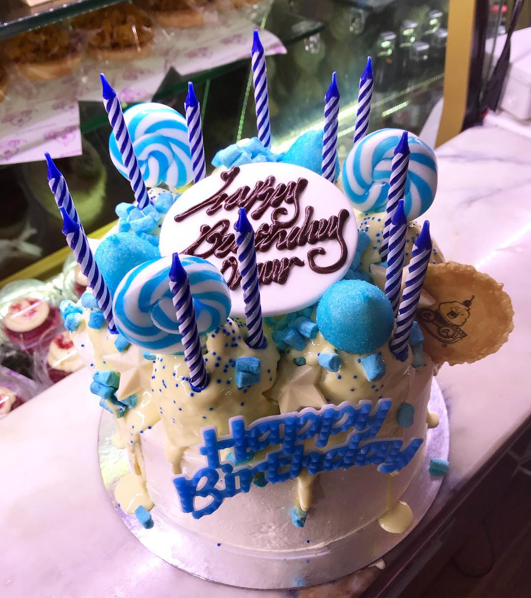 Fabulous Blue Birthday Cake Personalised Birthday Cards Arneslily Jamesorg